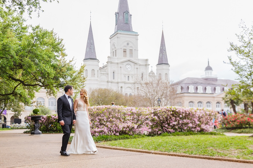 New Orleans wedding bride and groom in Jackson Square at St. Louis Cathedral